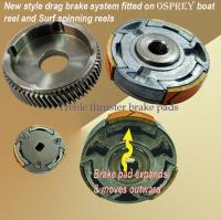 Thruster brake system for conventional boat reel. Positive braking system for conventional reel in wet conditions